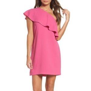 Charles Henry Pink One Shoulder Ruffle Dress SZ XL